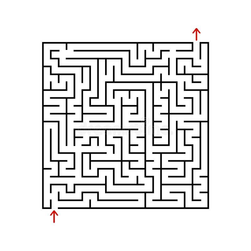 Labirinto do quadrado preto com entrada e saída Um jogo para crianças e adultos Ilustração lisa simples do vetor isolada no backg ilustração do vetor