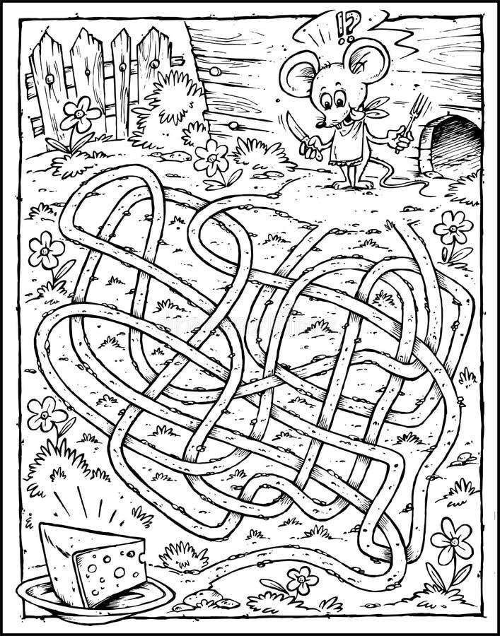 Labirinto do rato & do queijo - preto & branco fotografia de stock royalty free
