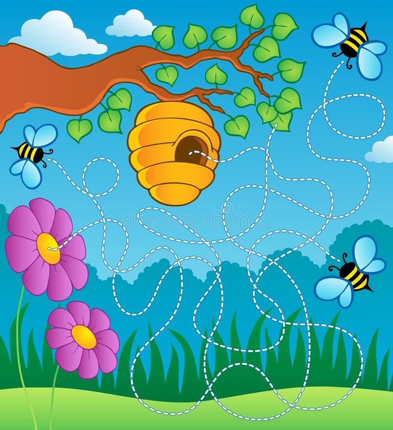 Labirinto do tema da abelha ilustração do vetor