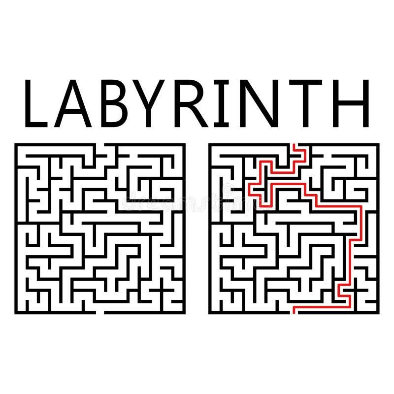 Labirinto do vetor com solução ilustração royalty free