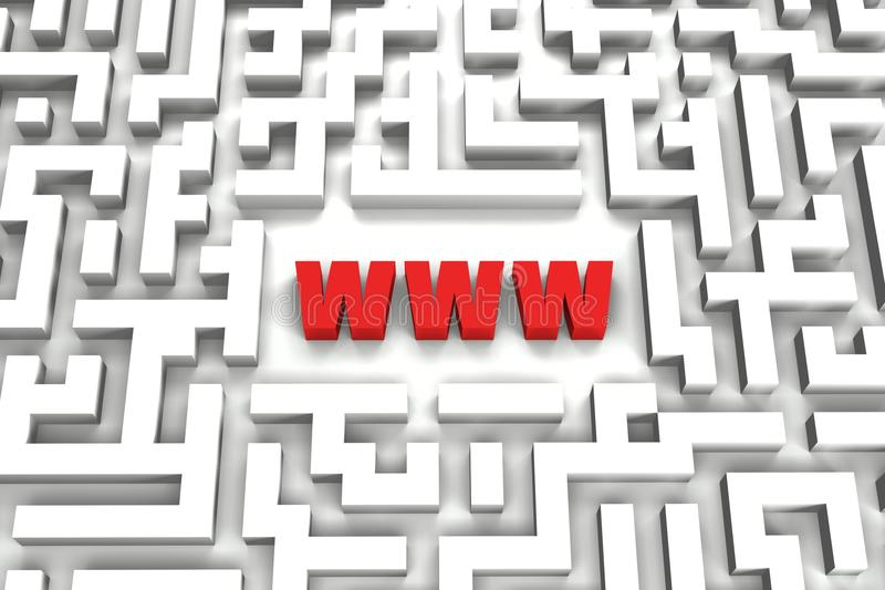 Labirinto do World Wide Web - imagem 3D ilustração do vetor
