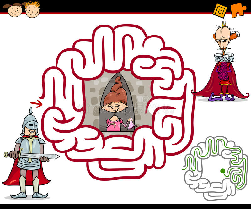 Labirinto dos desenhos animados ou jogo do labirinto ilustração do vetor