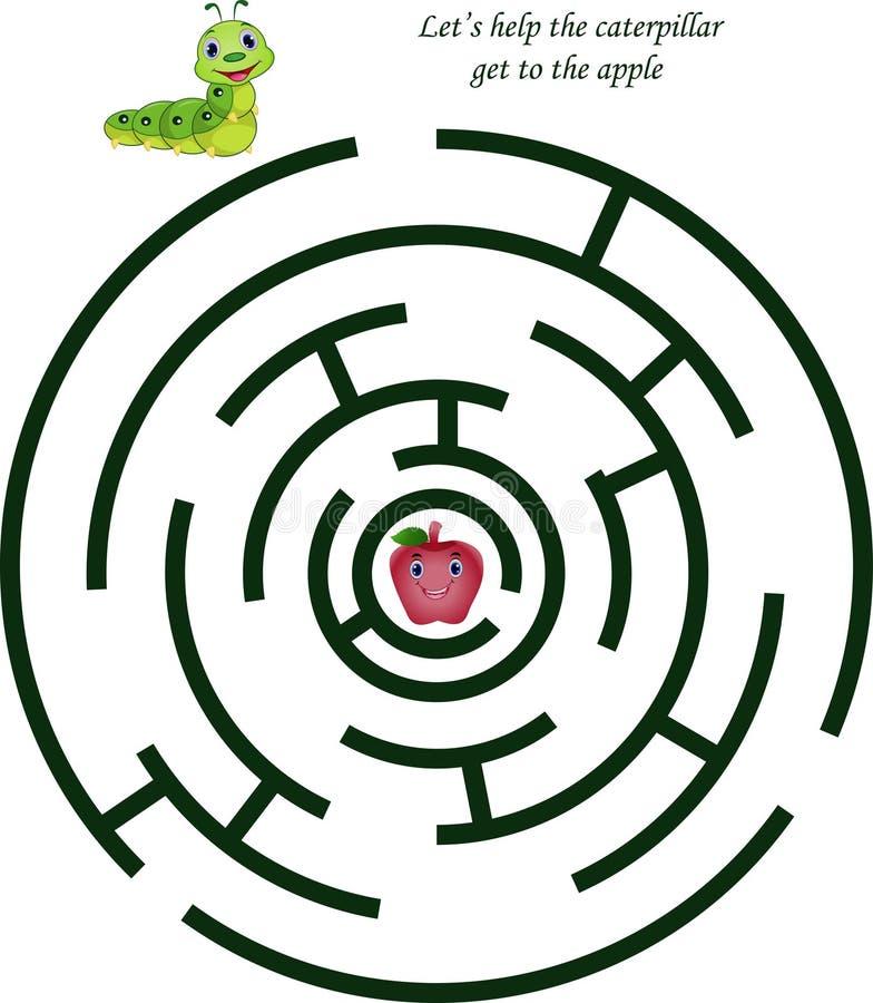 Labirinto dos desenhos animados para crianças com lagarta bonito e maçã ilustração stock