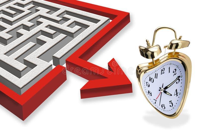 Labirinto e despertador ilustração stock