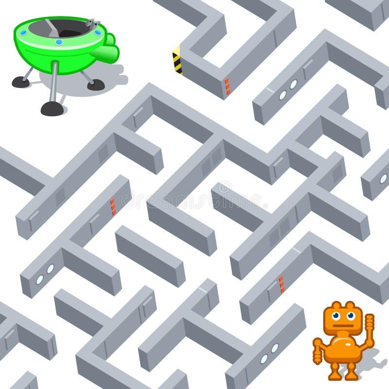 Labirinto e robot divertente illustrazione vettoriale