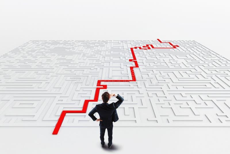 Labirinto e solução rendição 3d fotos de stock royalty free