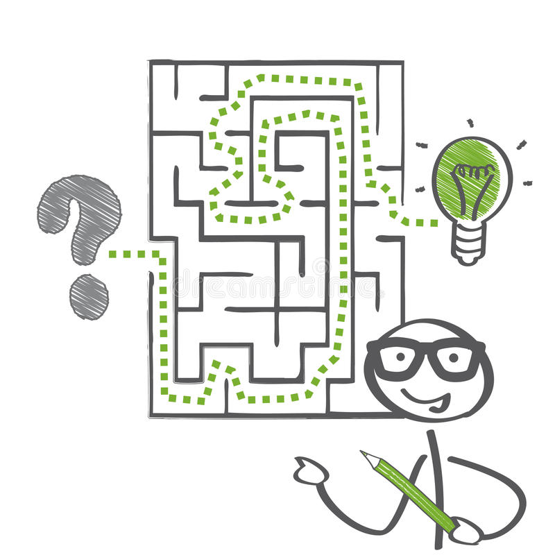 Labirinto e soluzione illustrazione di stock