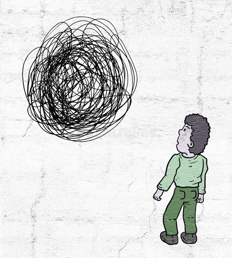 Labirinto ed uomo illustrazione di stock