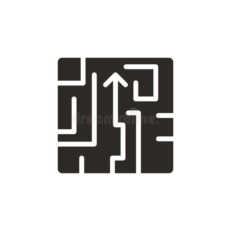 Labirinto, enigma, ícone do vetor da estratégia Ilustra??o simples do elemento do conceito de UI Labirinto, enigma, ícone do veto ilustração do vetor