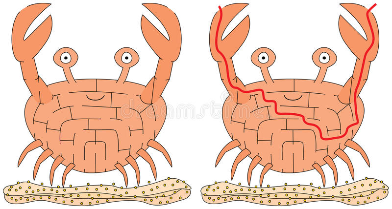 Labirinto facile del granchio illustrazione di stock