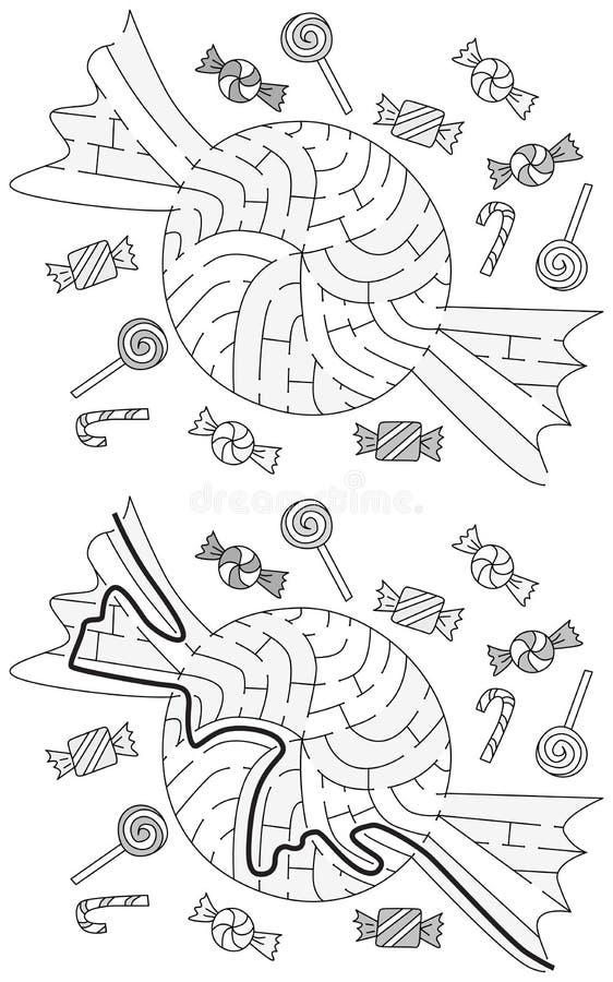 Labirinto facile della caramella illustrazione di stock