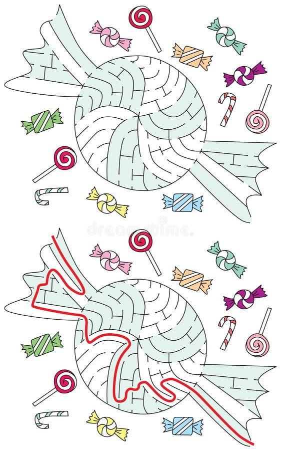 Labirinto facile della caramella royalty illustrazione gratis