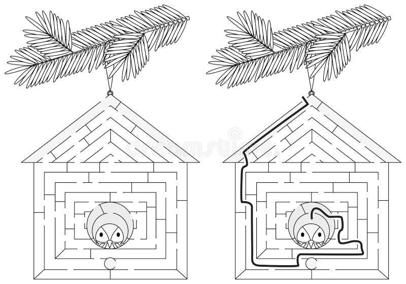Labirinto facile della casa dell'uccello illustrazione di stock