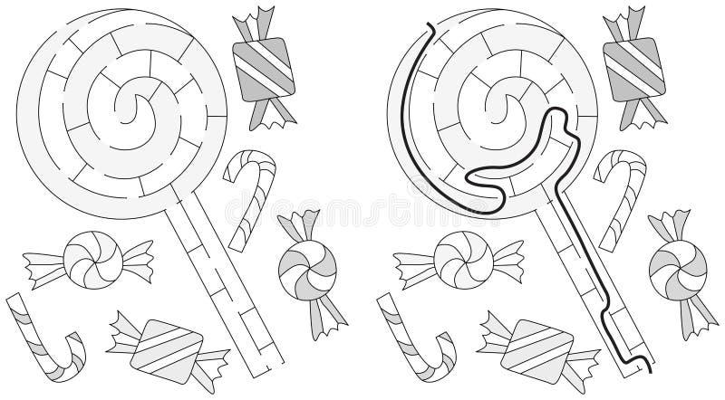 Labirinto facile della lecca-lecca royalty illustrazione gratis