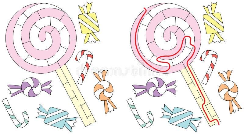 Labirinto facile della lecca-lecca illustrazione di stock