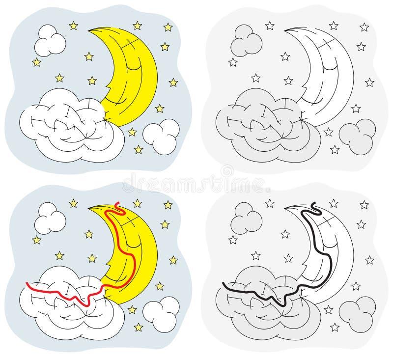 Labirinto facile della luna illustrazione vettoriale