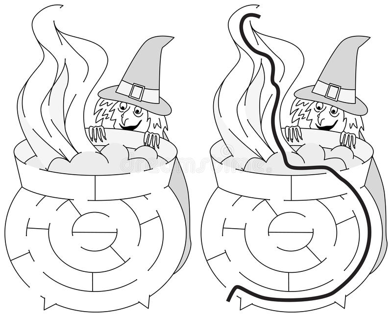 Labirinto facile della strega royalty illustrazione gratis