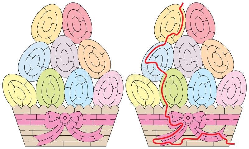 Labirinto facile delle uova di Pasqua illustrazione di stock