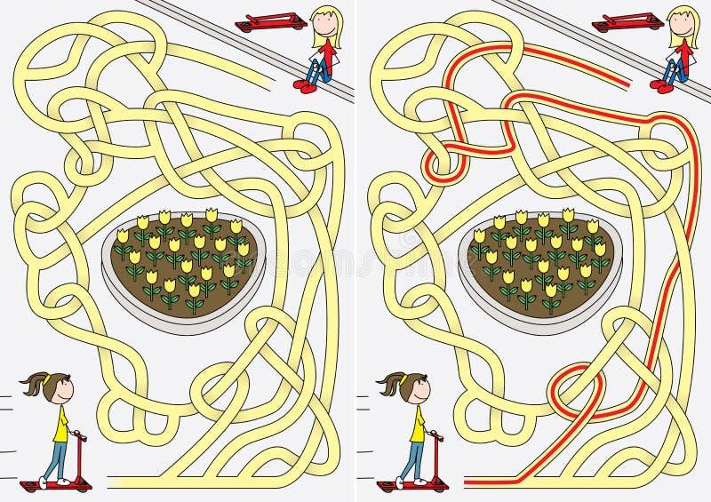 Labirinto feliz das crianças ilustração stock