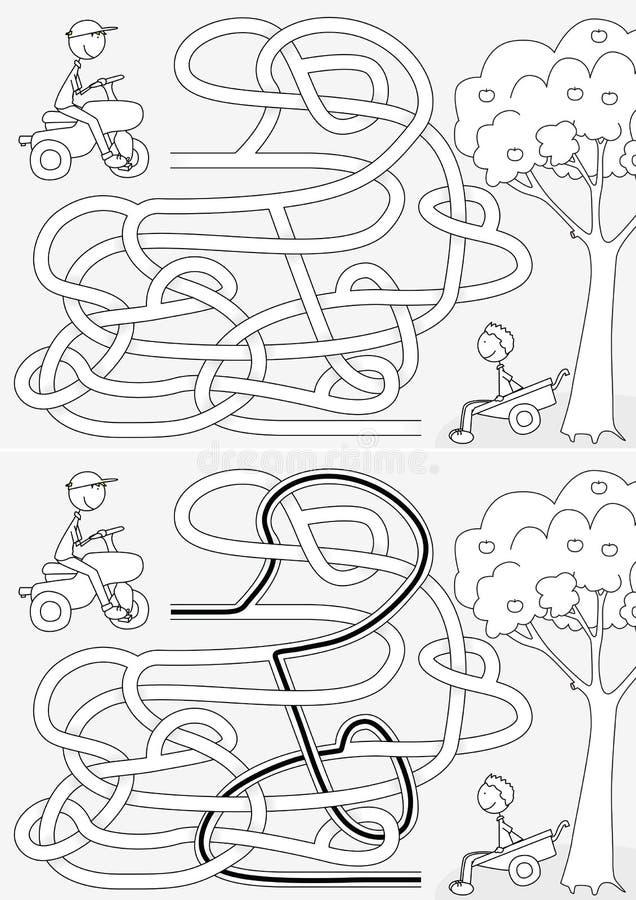 Labirinto feliz dos meninos ilustração do vetor