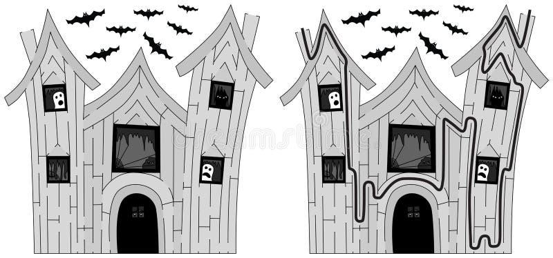 Labirinto frequentato facile della casa royalty illustrazione gratis
