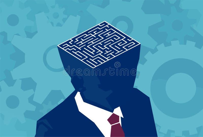 Labirinto interno do cérebro do homem de negócios Vetor de uma cabeça aberta com labirinto ilustração stock