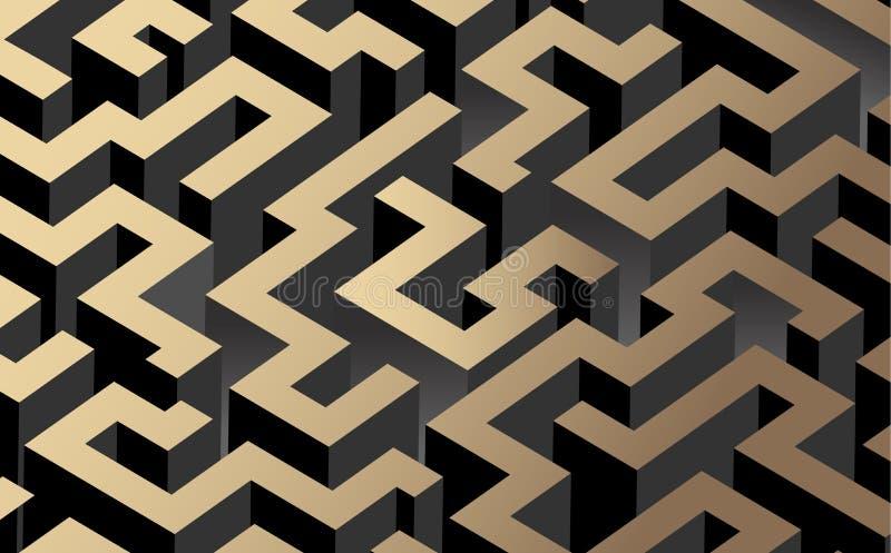 Labirinto nero, bianco e dorato di colore, labirinto Illustrazione di vettore illustrazione di stock