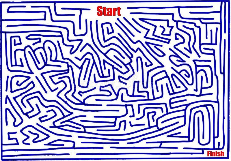 Labirinto numero undici, difficoltà fatta a mano e media, blu luminoso illustrazione vettoriale