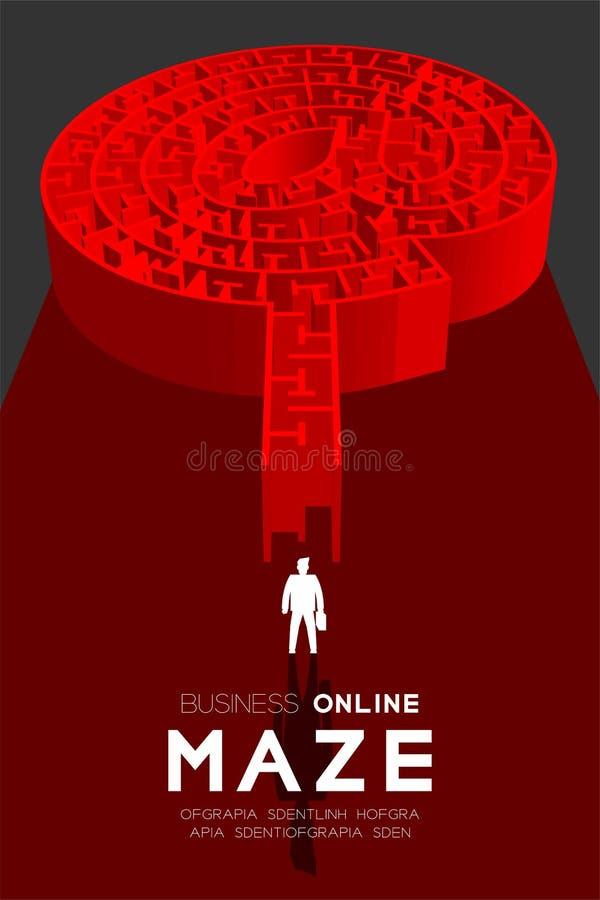 Labirinto ou labirinto em linha do negócio na cor vermelha da forma do sinal com homem de negócios, ilustração do projeto 3D ilustração stock