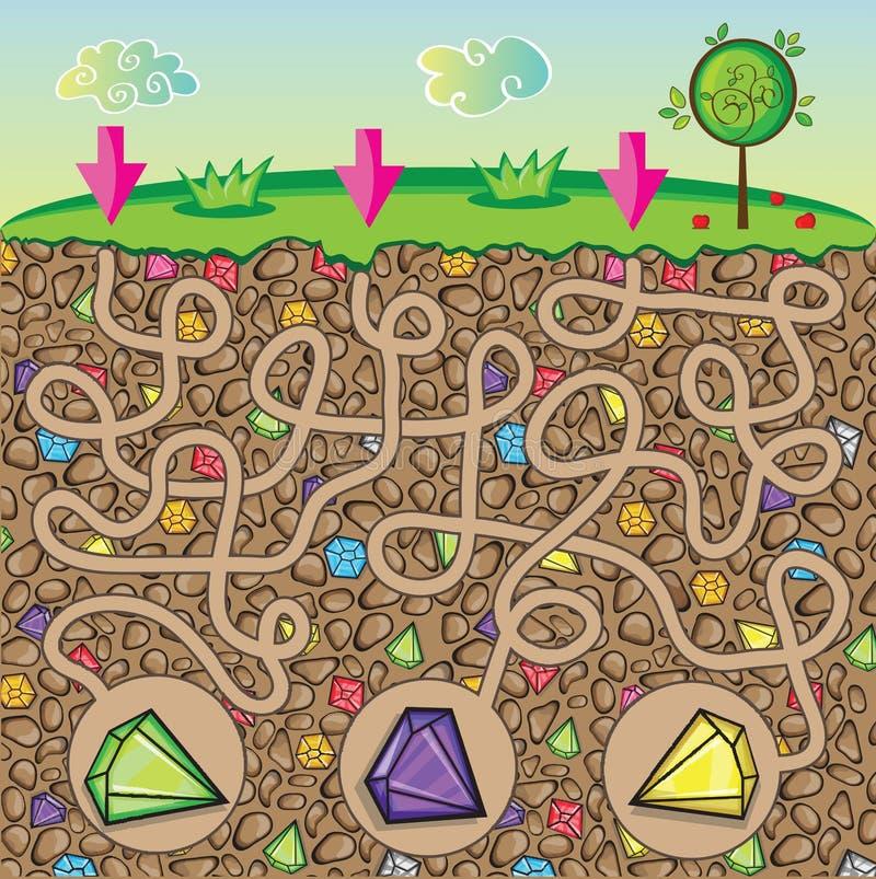 Labirinto para as crianças - natureza, pedras e pedras preciosas sob a terra ilustração do vetor