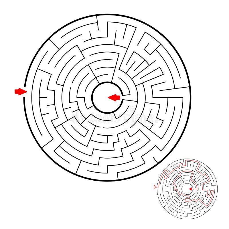 Labirinto preto redondo no fundo branco Labirinto das crianças Jogo para miúdos Enigma das crianças Ajuda para encontrar uma mane ilustração stock