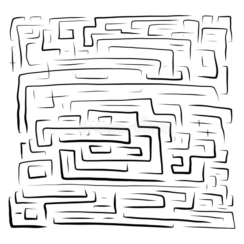 Labirinto preto tirado mão sobre ilustração royalty free