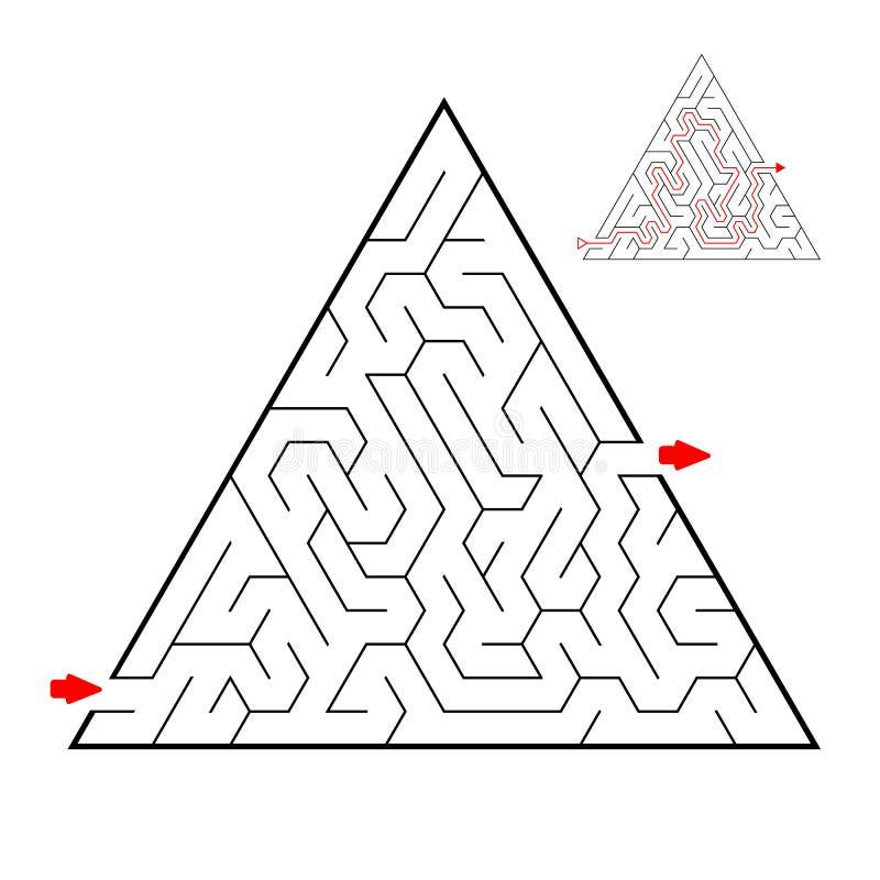 Labirinto preto triangular no fundo branco Labirinto das crianças Jogo para miúdos Enigma das crianças Ajuda para encontrar uma m ilustração royalty free