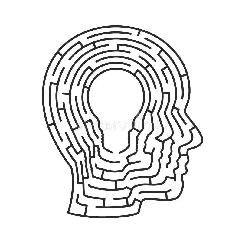 Labirinto principal da ideia Sinal da lâmpada ilustração do vetor