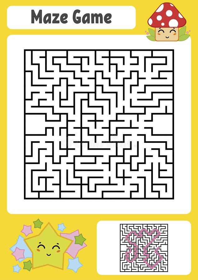 Labirinto quadrado abstrato Caçoa folhas Enigma do jogo para crianças Estrela bonito e cogumelo Um extasia, uma saída Conund do l ilustração royalty free