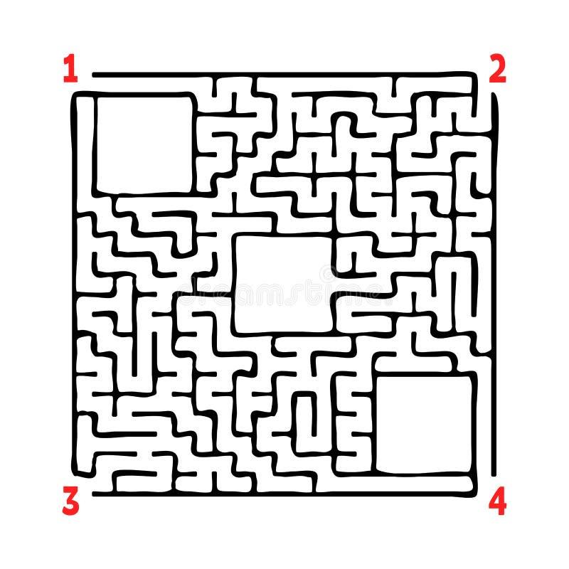 Labirinto quadrado abstrato Jogo para miúdos Enigma para crianças Quatro entradas, uma saída Enigma do labirinto Ilustração lisa  ilustração do vetor