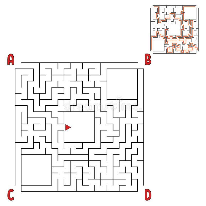 Labirinto quadrado abstrato Jogo para miúdos Enigma para crianças Quatro entradas, uma saída Enigma do labirinto Ilustração lisa  ilustração royalty free