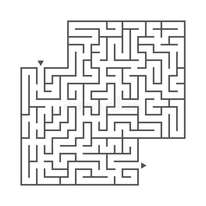 Labirinto quadrado abstrato Jogo para miúdos Enigma para crianças Uma entrada, uma saída Enigma do labirinto Ilustração lisa do v ilustração stock