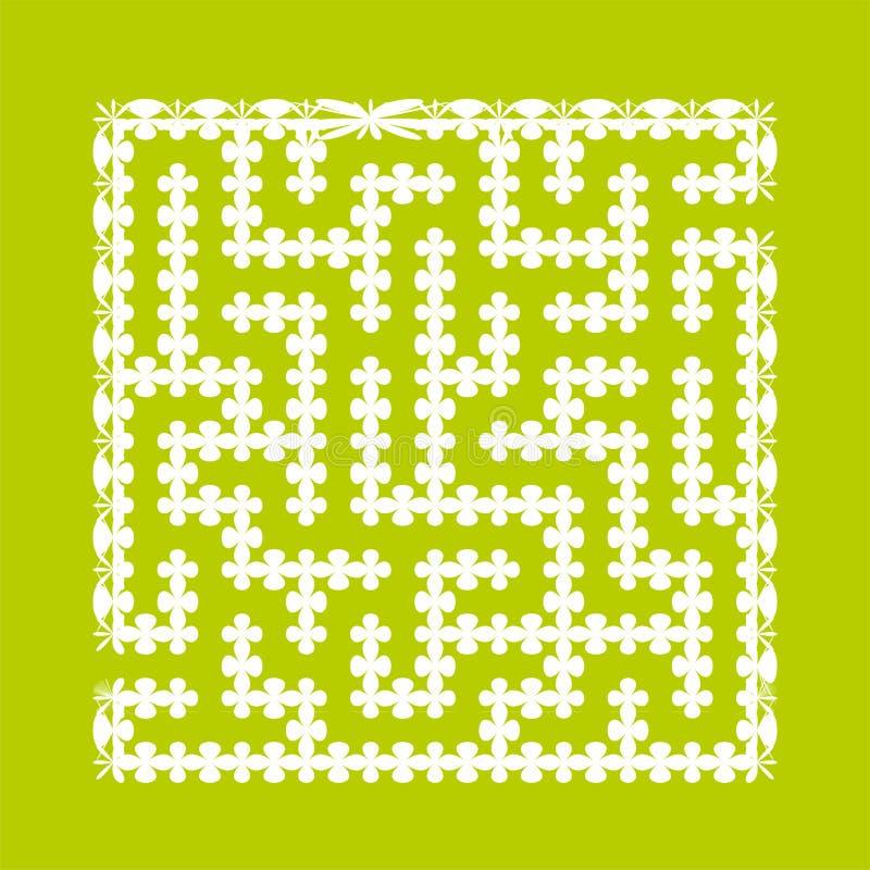 Labirinto quadrado abstrato Jogo para miúdos Enigma para crianças Uma entrada, uma saída Enigma do labirinto Ilustração lisa do v ilustração royalty free