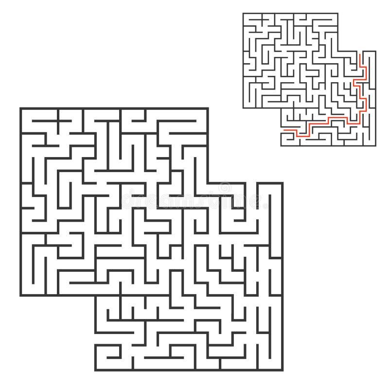 Labirinto quadrado abstrato Jogo para miúdos Enigma para crianças Uma entrada, uma saída Enigma do labirinto Ilustração lisa do v ilustração do vetor