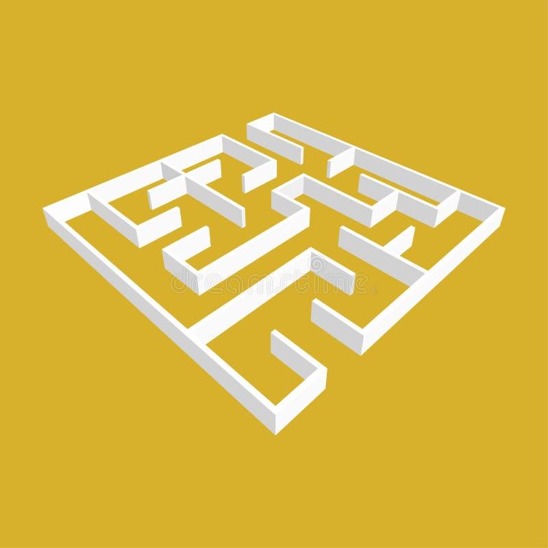 Labirinto quadrado branco do sumário estilo da bordadura 3D Jogo para miúdos Enigma para crianças Uma entrada, uma saída Enigma d ilustração do vetor