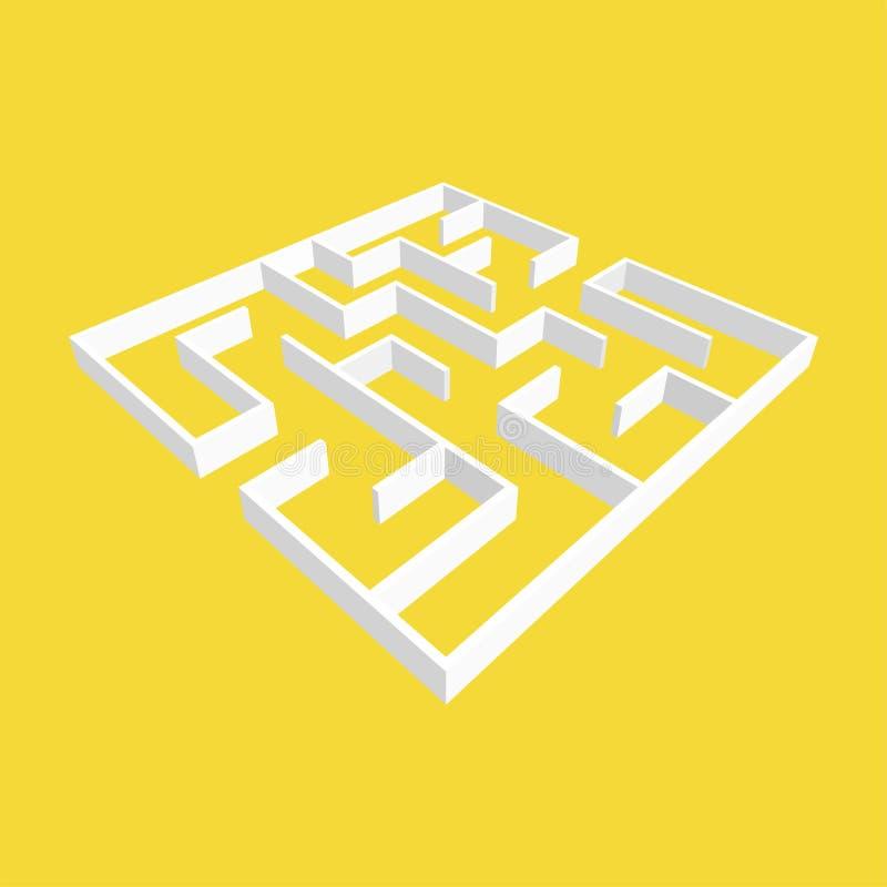 Labirinto quadrado branco do sumário estilo da bordadura 3D Jogo para miúdos Enigma para crianças Uma entrada, uma saída Enigma d ilustração stock