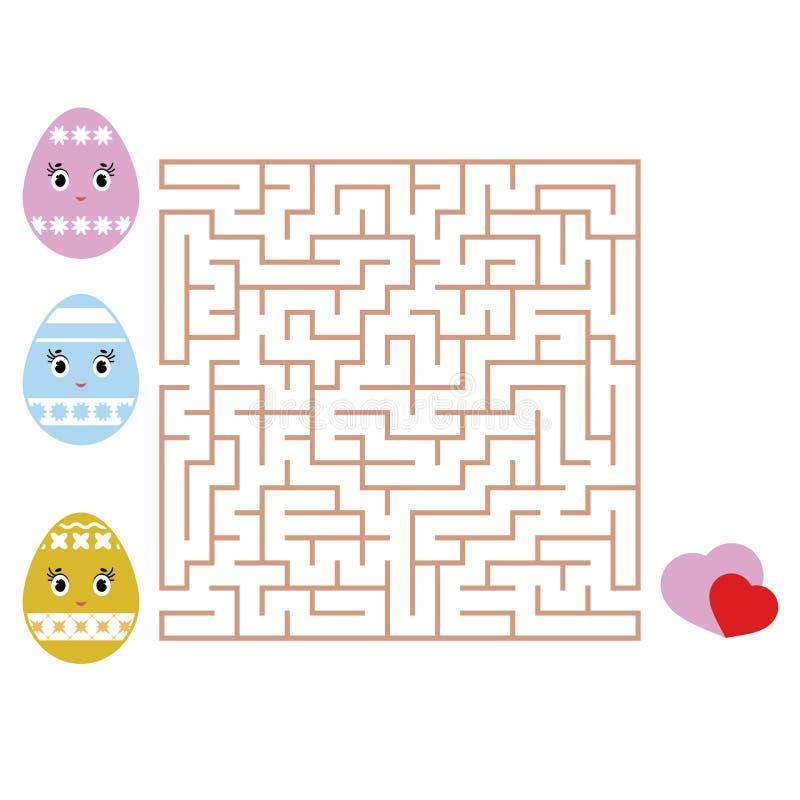 Labirinto quadrado colorido Caçoa folhas Página da atividade Enigma do jogo para crianças Páscoa, ovo dos desenhos animados, feri ilustração stock