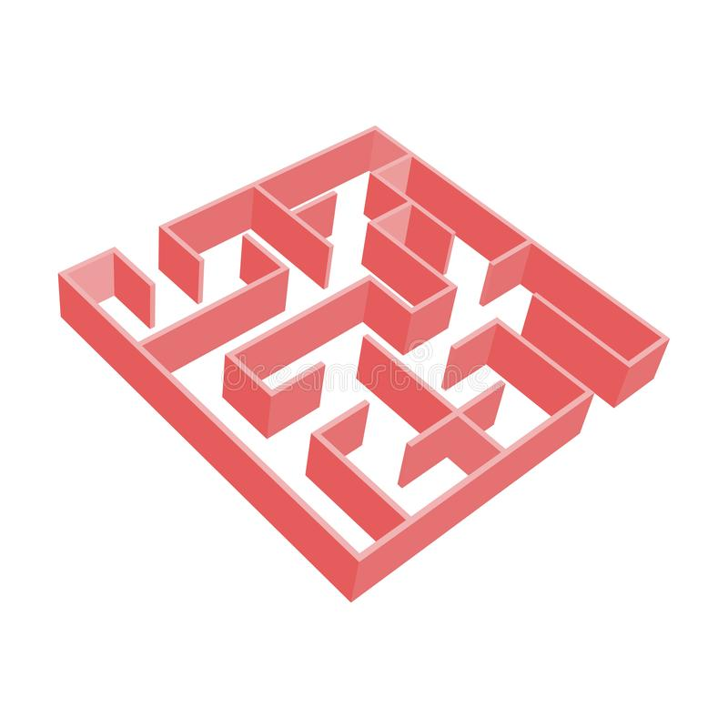 Labirinto quadrado colorido sumário estilo da bordadura 3D Jogo para miúdos Enigma para crianças Uma entrada, uma saída Enigma do ilustração stock