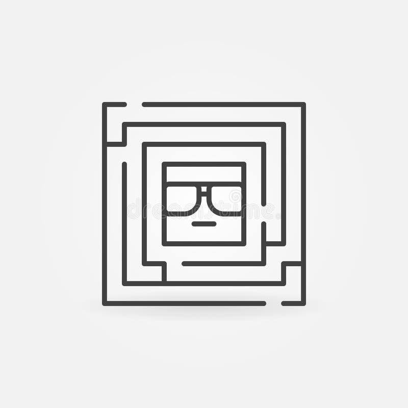 Labirinto quadrado com cara para dentro ilustração stock