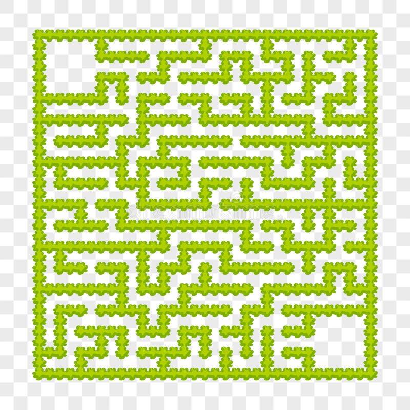 Labirinto quadrado de arbustos do jardim Jogo para miúdos Enigma para crianças Uma entrada, uma saída Enigma do labirinto Vetor l ilustração do vetor