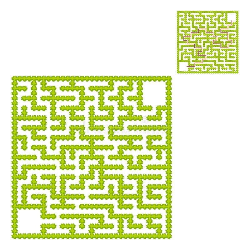 Labirinto quadrado de arbustos do jardim Jogo para miúdos Enigma para crianças Uma entrada, uma saída Enigma do labirinto Vetor l ilustração royalty free