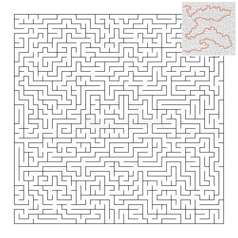 Labirinto quadrado difícil Jogo para miúdos Enigma para crianças e adulto Uma entrada, uma saída Enigma do labirinto Vetor liso ilustração royalty free