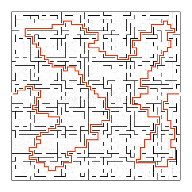 Labirinto quadrado difícil Jogo para miúdos Enigma para crianças e adulto Uma entrada, uma saída Enigma do labirinto Vetor liso ilustração do vetor