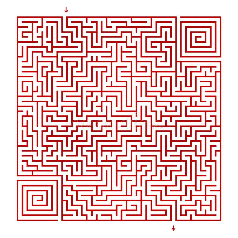 Labirinto quadrado em um fundo branco ilustração royalty free
